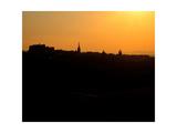 Edinburgh castle and city skyline at sunset  Scotland