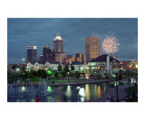 Indianapolis Skyline at Night with Fireworks