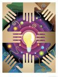 Texture  Hands and Light Bulbs