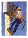 A Man Repairing a Transformer