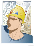 """Man Wearing Hard Hat in Front of a Factory  """"USA""""  Grouped Elements"""