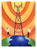 Business People on Phones by Cell Phone Communication Tower