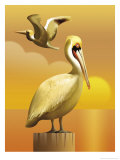 A View of Two Pelicans  One Standing on a Post and One Flying