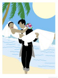 Groom Carrying Bride Along the Ocean  Grouped Elements