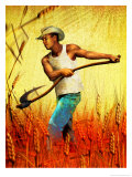 Farmer with Scythe in Wheat Field