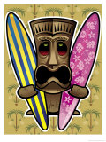 Tiki Statue Holding Surfboards