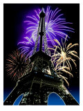 Fireworks Behind Eiffel Tower  Bastille Day