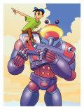 Boy on Shoulder of Robot