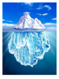 A View of an Iceberg from Above and Below Water