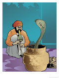 An Indian Snake Charmer and a Cobra
