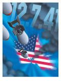 """Pearl Harbor Day  Bombs Dropping on an American Flag  """"12741"""""""