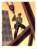 A Steel Worker Standing on Beams