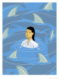 Businesswoman Being Circled by Shark Fins