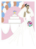 Bride Posing in Front of a Wedding Cake  Grouped Elements