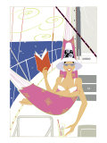 A Woman in a Bikini Reading a Book in a Hammock on a Yacht Looking at the Viewer
