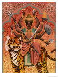 A View of Durga  the Indian Goddess of War  Sitting on a Tiger