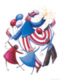 Uncle Sam Dancing in a Circle with Three Children