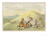 Native American Sioux Hunting Buffalo on Horseback