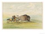 Native American Sioux Hunting Buffalo on Horseback