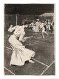 Woman Playing Tennis in Long White Skirt
