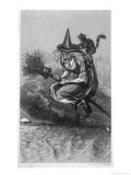 Witch Flies to the Sabbat with Her Cat on Her Broomstick