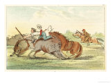 Native American Hunting Buffalo on Horseback