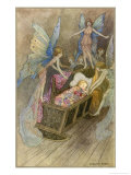 Fairies Around a Baby&#39;s Cot