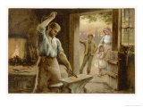 The Village Blacksmith in His Smithy