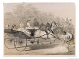 "Horses and Carriages Charge Down the ""Mall"" (The Principal Thoroughfare) of the Station"