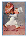 Young Chef Carries in a Decorated Pudding