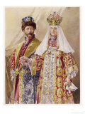 Nikolay Aleksandrovich Czar Nicolas II with Alexandra in Ancient Muscovite Dress