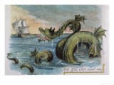 Sea Monster Looks at a Sailing Ship