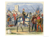 Richard II Mounted on a Horse Meets the Rebels
