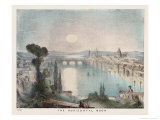 The Horizontal Moon Over a City River and Bridge