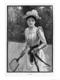 An Elegantly if Unsuitably Dressed Player Prepares to Serve