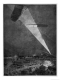 Zeppelins Over the English Coast are Spotted by a Lone Searchlight