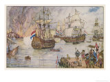Dutch Fleet Commanded by De Ruiter Sails up the Thames and Burns English Shipping in the Medway