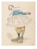 Clown Wearing Very Large Shoes Flowers in His Hair Glasses and a Pink Tutu