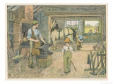 Children Watch as the Village Blacksmith Working