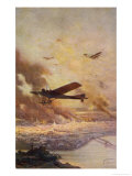 French Antoinette Monoplane Flies Over a City Burning as the Result of Aerial Bombardment