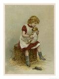 Small Girl Nurses a Sick Puppy