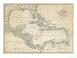 Carte des Caraïbes, Antilles et côtes des États-Unis Giclée premium par John Blair