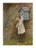 Boy Stretches to Post a Letter in the Box at Bowler's Green Surrey