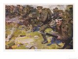 During World War One British Infantry Though Some are Wounded Advance with Fixed Bayonets