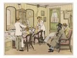 The Interior of a Barber&#39;s Shop: Customers Wait While Others are Attended To