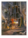 Steam Hammer at Work in a British Ironworks Making a Ship's Anchor