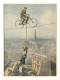 German Husband and Wife Team Perform a Dramatic Tightrope Cycling Act