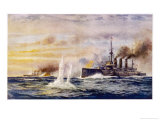 Battle of the Falkland Islands the Light Cruiser Kent Sinks the German Cruiser Nurnberg