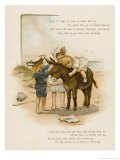 Small Child Clings to the Donkey&#39;s Mane While Her Brother Holds It by the Head