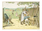 The Carpenter Working at His Bench Makes a Pair of Stilts for a Boy